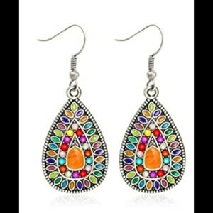 Silver colorful stone abstract boho drop earrings